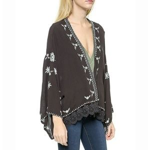 Free People Embroidered Kimono Jacket
